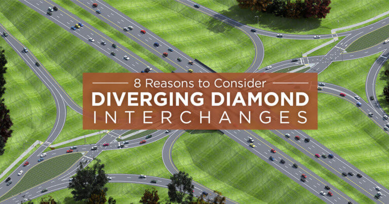 3D model of a diverging diamond interchange.