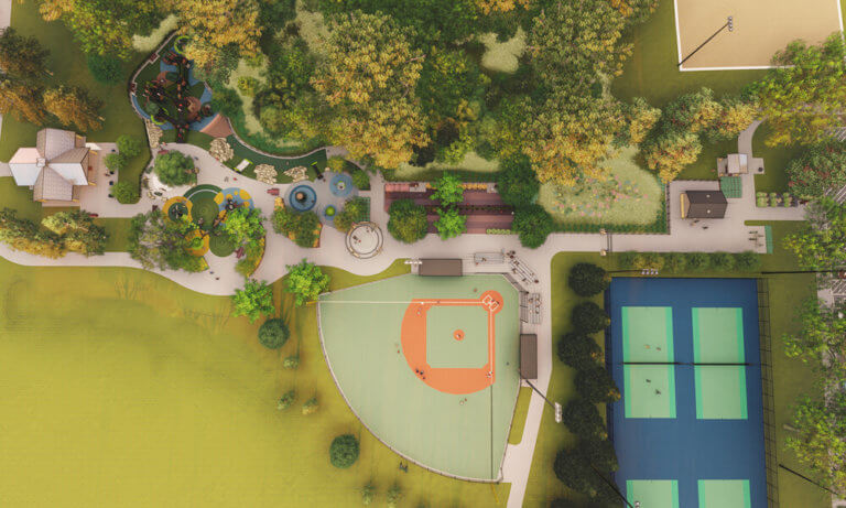Aerial rendering of the Ames Miracle League playground, baseball field, and tennis courts.