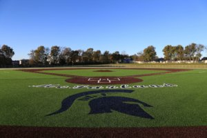 An image of the McFarland Baseball Field complete with team logos and colors.