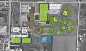 A graphic representation of a multi-use athletic complex master plan for the City of Indianola.