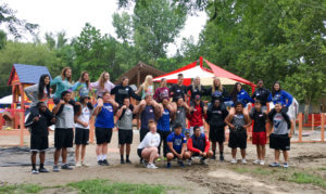 A group photo of young volunteers that assisted with the Council Bluffs Dream Playground Reimagined.