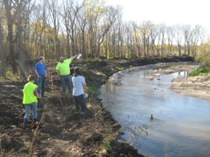 Construction progress on the restoration of Four Mile Creek.