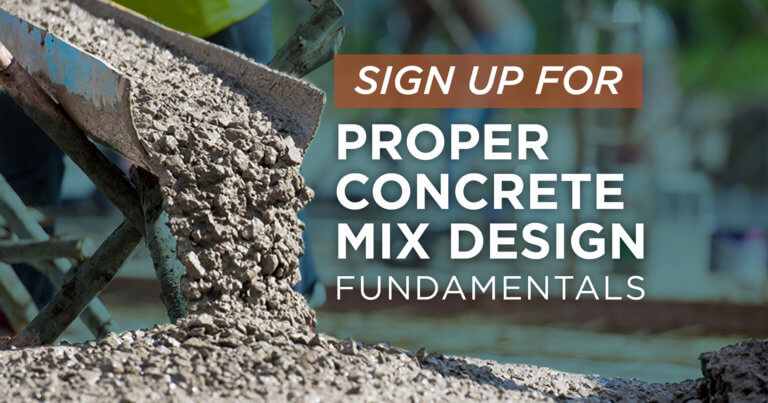 Register for a free training opportunity on the fundamentals of proper concrete mix design sponsored by the CP Tech Center.