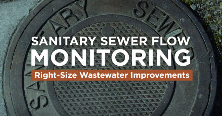 A sanitary sewer manhole with superimposed text that ready 'Sanitary Sewer Flow Monitoring: Right -Size Wastewater Improvements'.