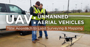 Two men standing next to a Snyder & Associates, a civil engineering firm, truck preparing a drone for take off.