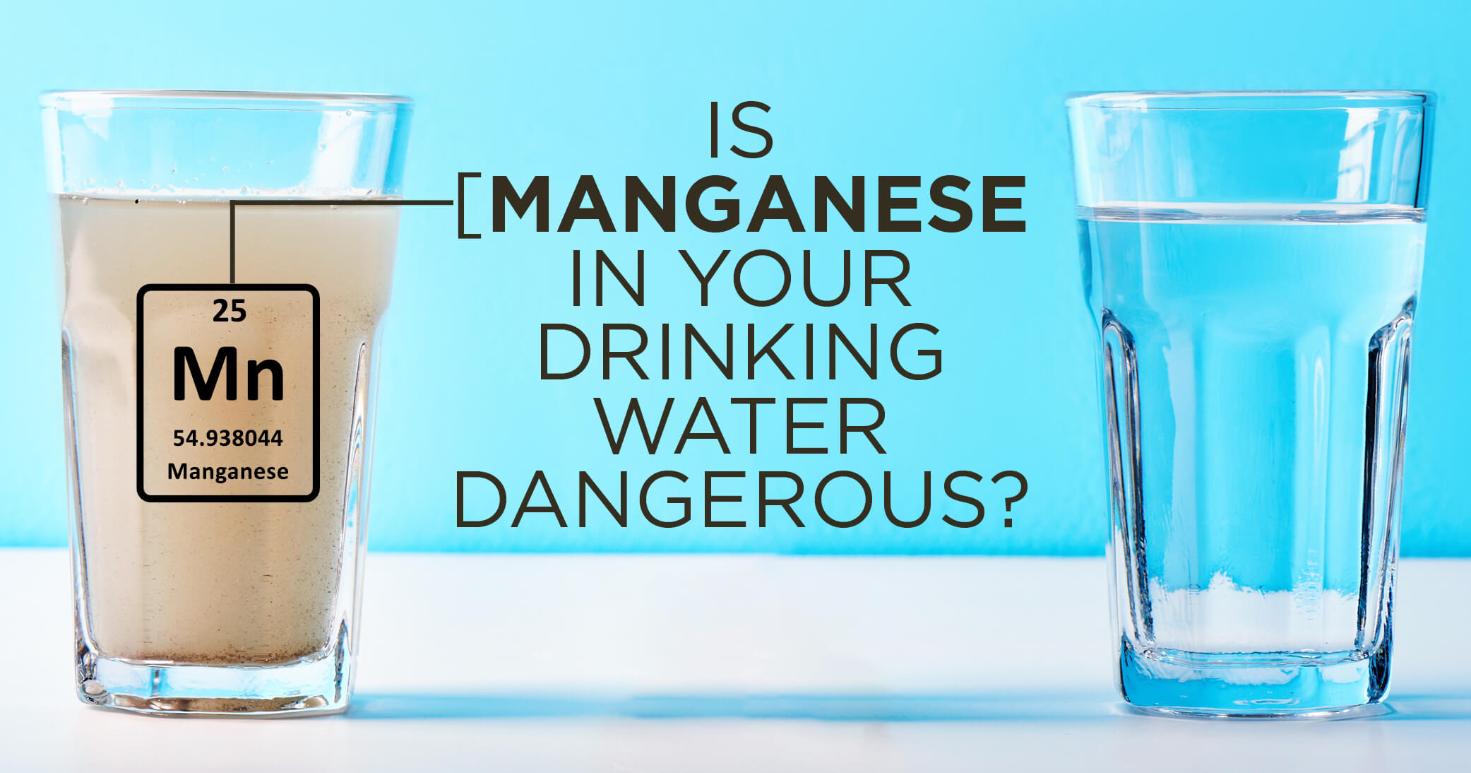 Two glasses of water next to each with the left glass muddy with manganese.