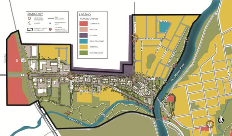 Final map of the Northwest River District Revitalization Plan.