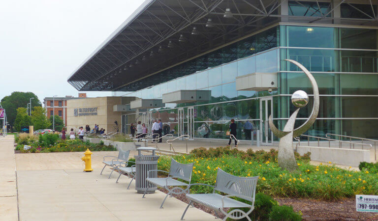 Street-level view of the front of the Quad-Cities Waterfront Convention Center