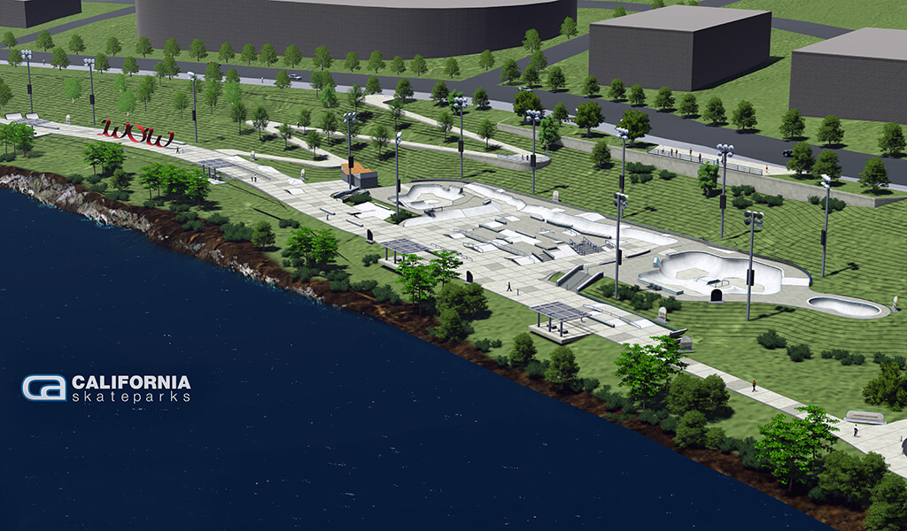 Aerial 3D rendering of the future largest outdoor skatepark along the Des Moines river.