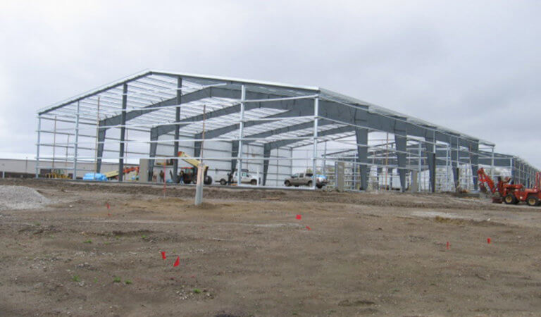 Crew constructs frame of industrial building at Albaugh Industrial Park in Ankeny, IA.