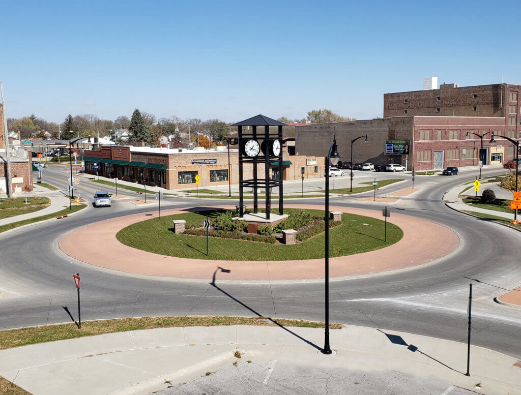 Aerial view of a recently complete roundabout in downtown Fort Dodge, IA.