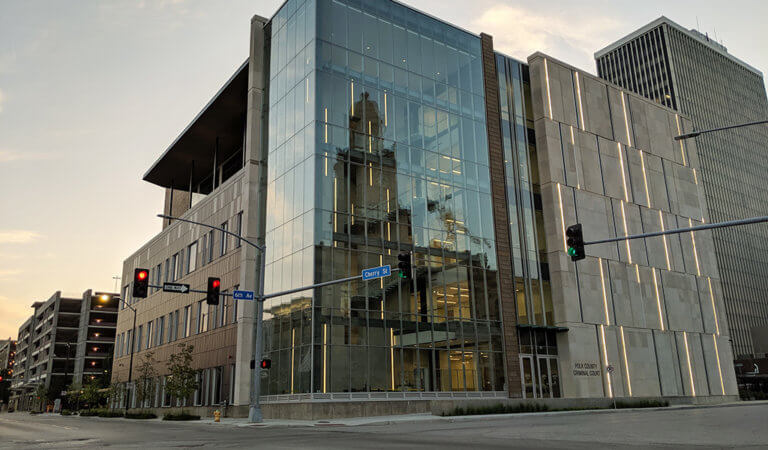 The front facade of the new Polk County Criminal Court Building.