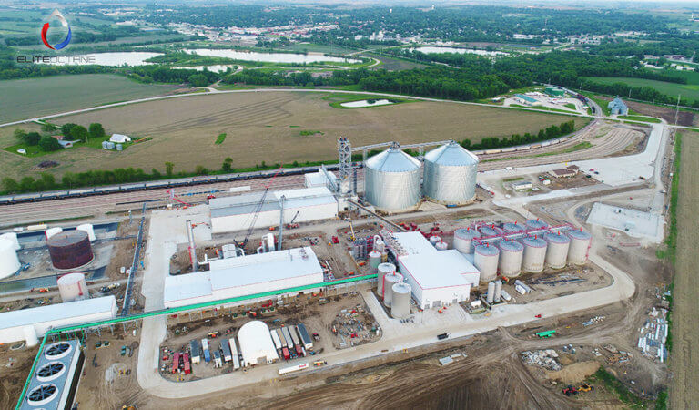 aerial view of large ethanol plant